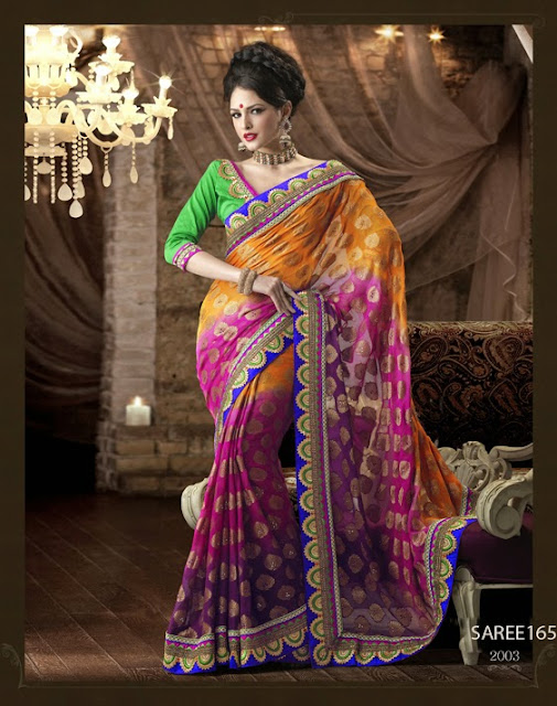 Heavy Wedding Embroidered Saree,Latest Designer Partywear Saree