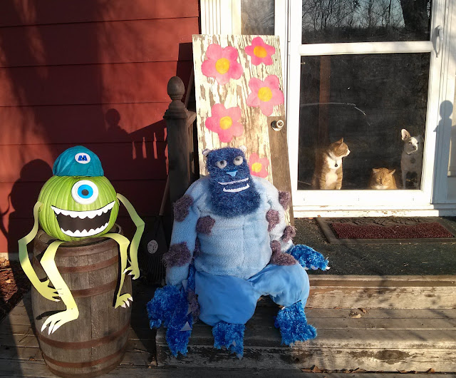 Monsters Inc. scarecrow and pumpkin