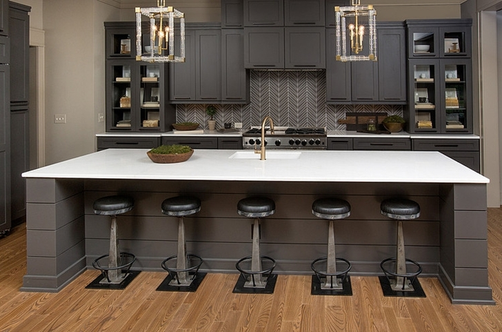 Black kitchen furniture in Craftsman style home in Dublin, Ohio
