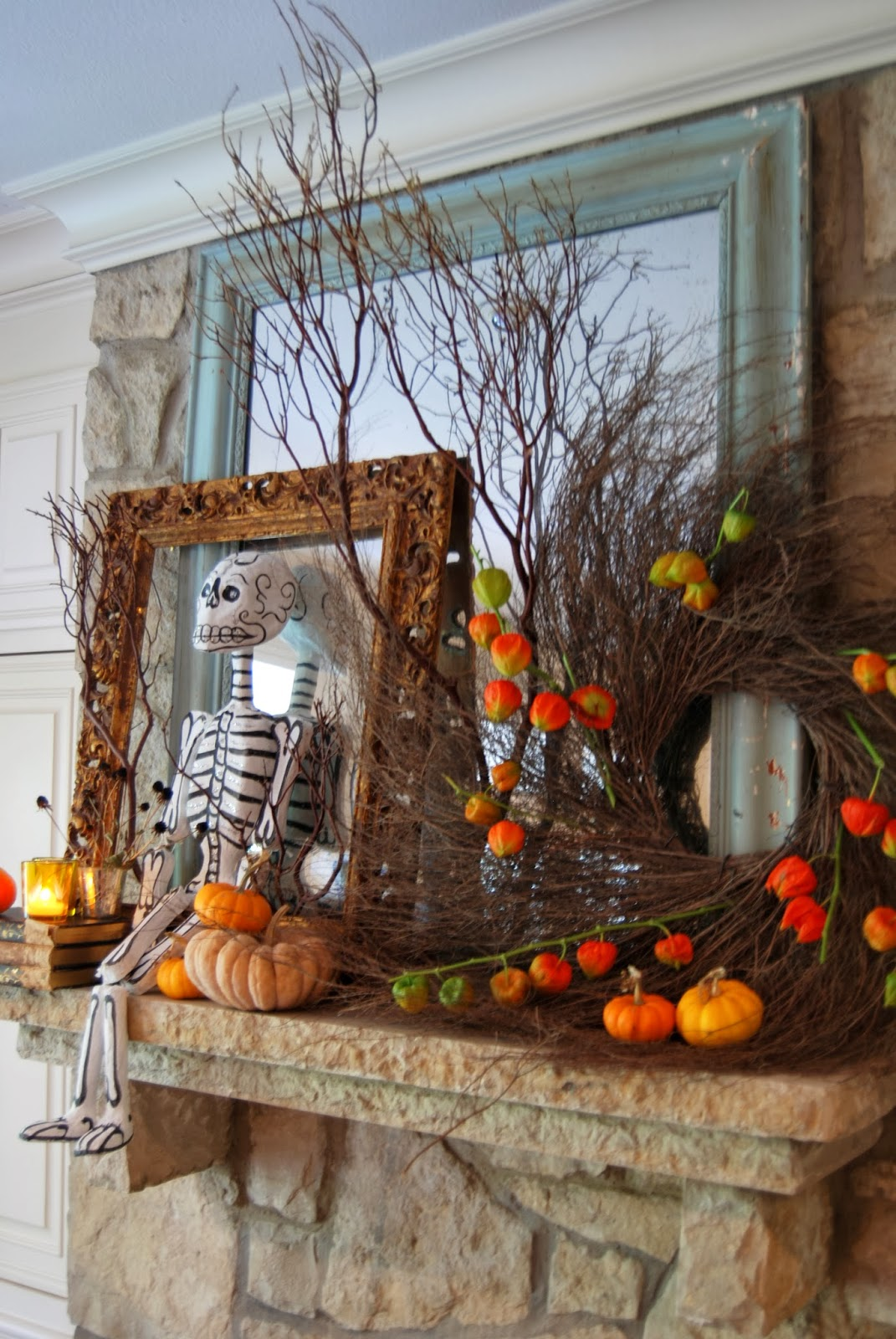 Mantle for Halloween; Here Come the Skeletons