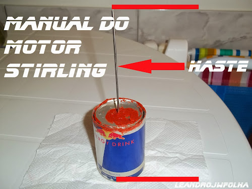 Manual do motor Stirling, pistão deslocador com lata de Red Bull