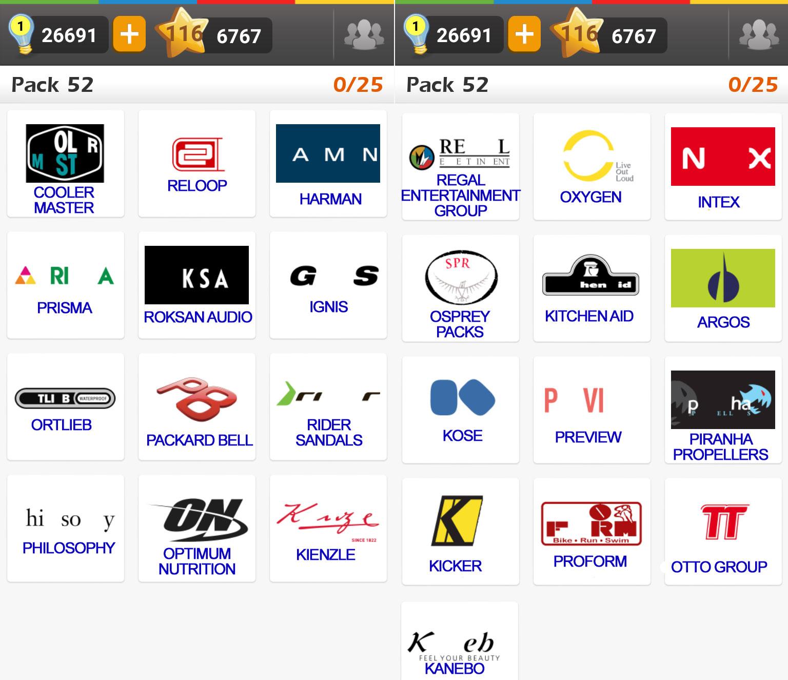 Logo game guess the brand regular pack 52 doors geek for Solution wordbrain cuisine