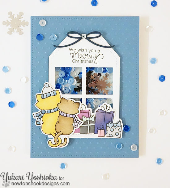 Meowy Christmas Cat Card by Yukari Yoshioka | Newton's Christmas Cuddles Stamp & Die set by Newton's Nook Designs #newtonsnook