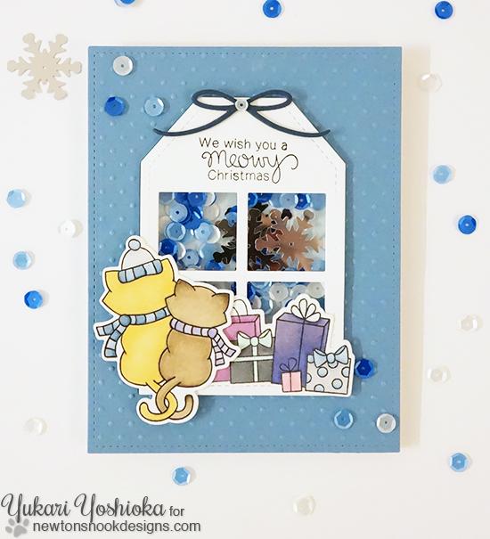 Meowy Christmas Cat Card by Yukari Yoshioka | Newton's Christmas Cuddles Stamp & Die set by Newton's Nook Designs #newtonsnook