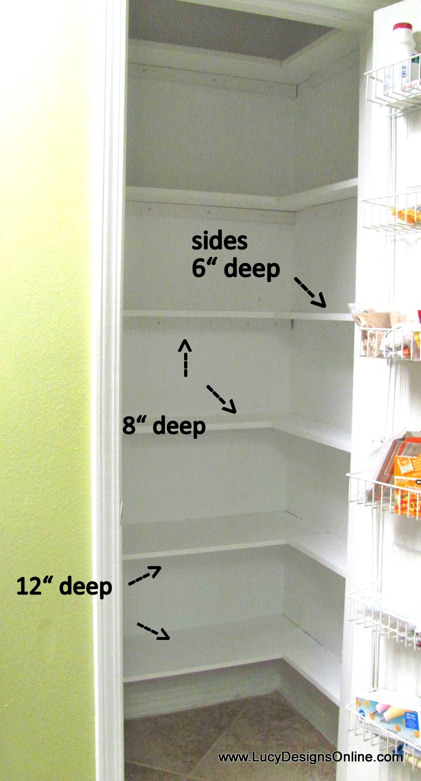 Kitchen pantry makeover diy installing wood wrap around How deep should a bookshelf be