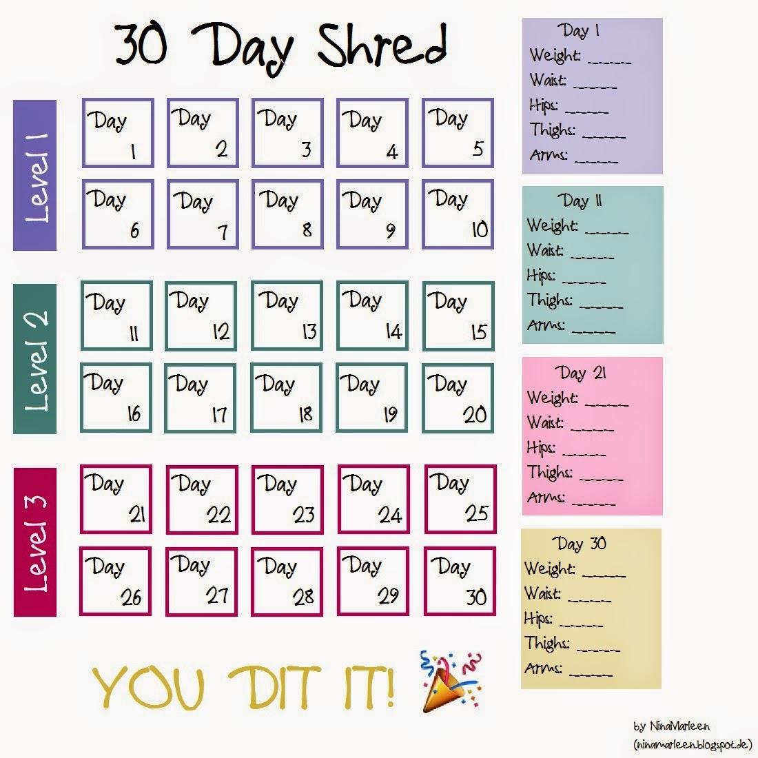 30 days shred jillian michaels 30 day shred calendar 73603 a