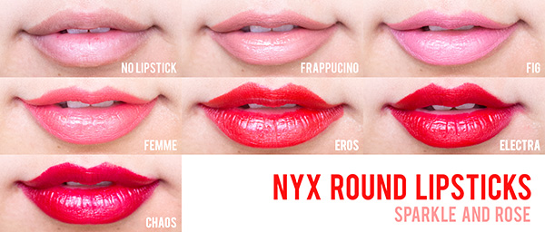 NYX Round Lipstick Reviews  Chaos  Electra  Eros  Femme  Fig and    Nyx Chaos