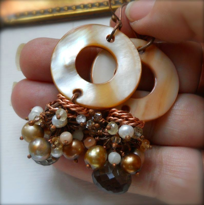 fresh water pearls, smokey quartz, moonstone, crystal and mother of pearl earrings
