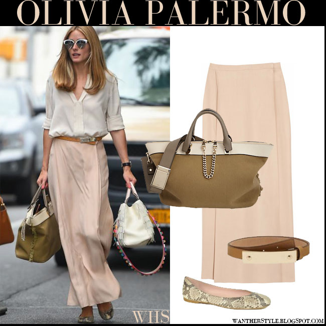 Olivia Palermo in beige blouse, beige maxi Stella McCartney skirt and khaki Chloe Baylee bag what she wore july 22 streetstyle summer