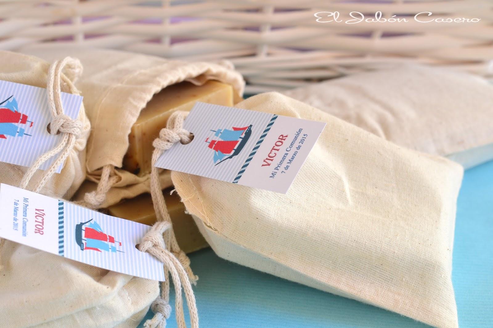 comunion marinera detalles de invitados jabones en bolsitas de algodon