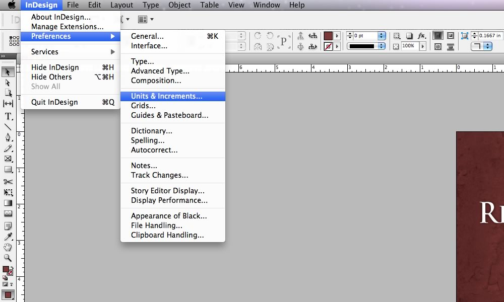 how to change units to inches in indesign