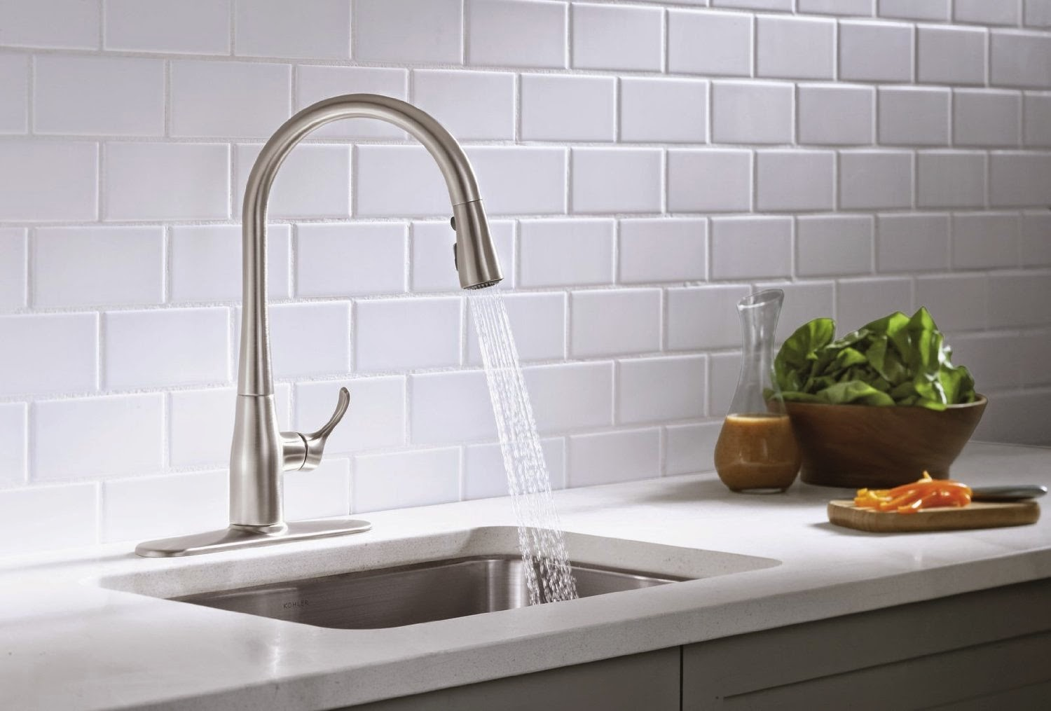 Kohler Kitchen Faucets Simplice kohler k-596-cp simplice single-hole pull-down kitchen faucet