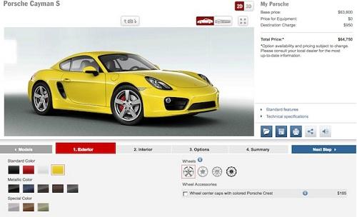 2014 Porsche Cayman configurator