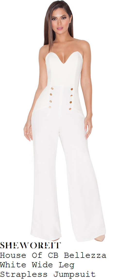 aubrey-oday-white-strapless-sweetheart-wide-leg-jumpsuit