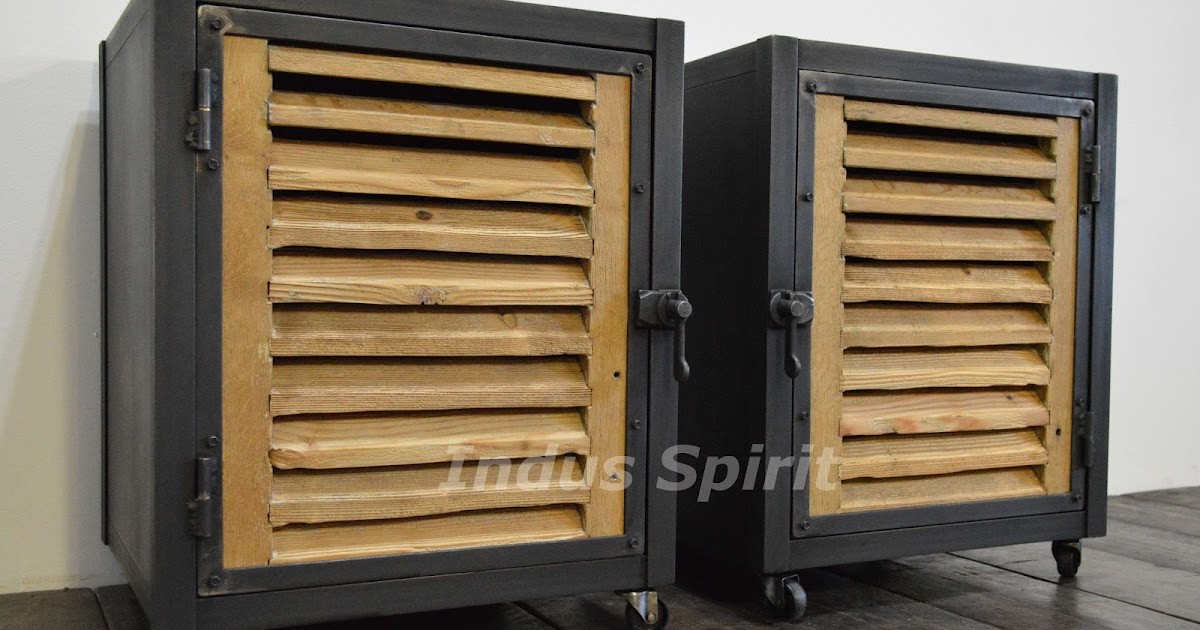 tables de chevet style industriel. Black Bedroom Furniture Sets. Home Design Ideas