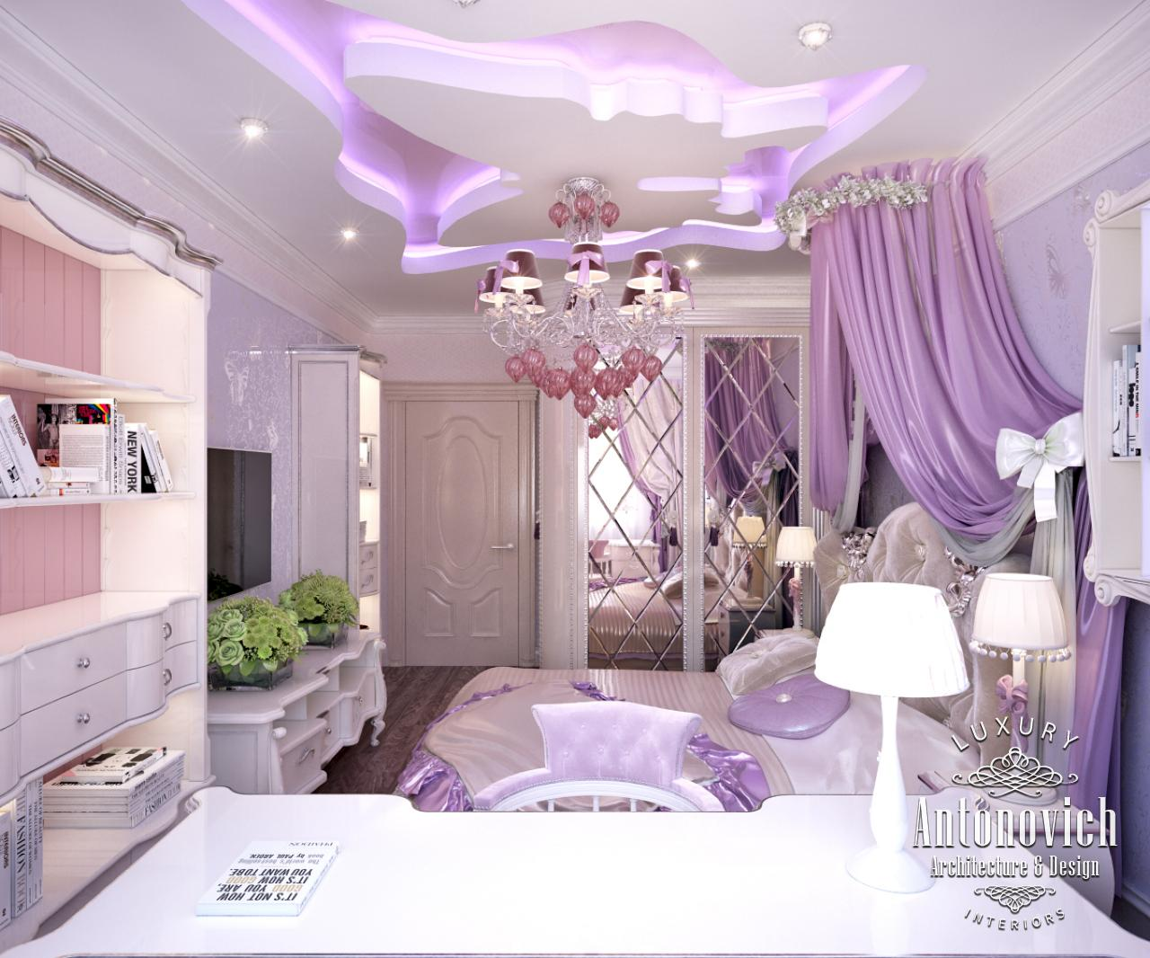 Interior Design Dubai  which Katrina Antonovich offers her customers fills  the pink girly bedroom with a sense of warmth of home comfort. LUXURY ANTONOVICH DESIGN UAE  Pink girly bedroom from Katrina