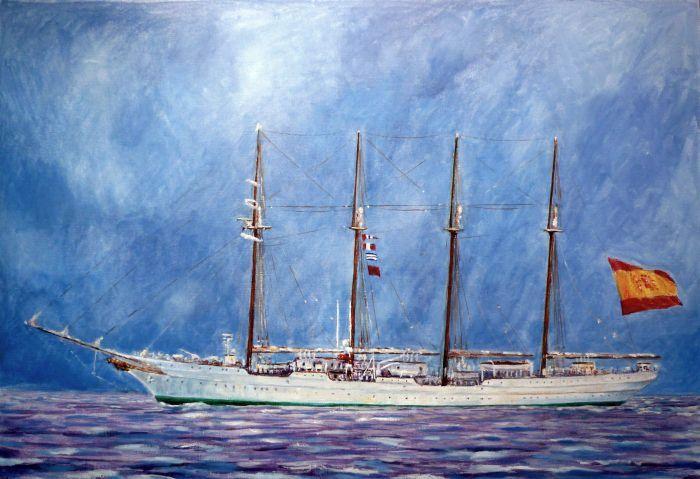 Oleo sobre tabla del buque escuela de la armada española Juan Sebastián Elcano con bandera de españa