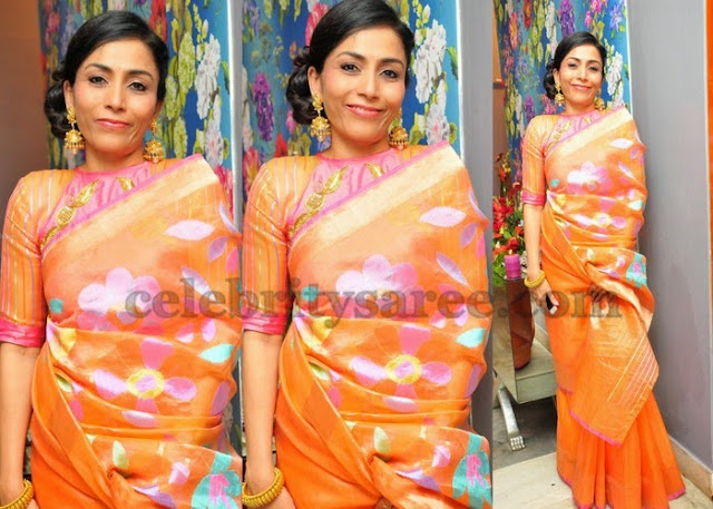 Peach Color Tissue Silk Saree