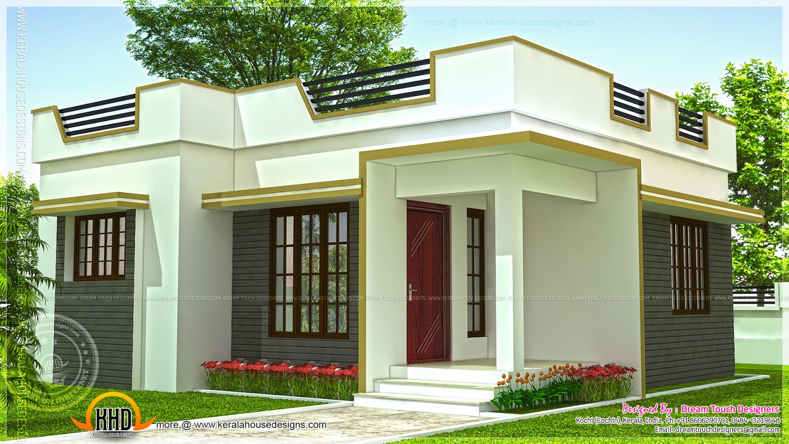 Small house in kerala in 640 square feet kerala home for Small budget house plans in kerala