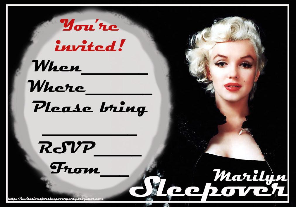 MARILYN MONROE FREE TO PRINT SLEEPOVER PARTY INVITATIONS