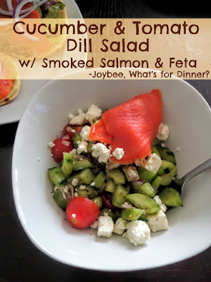 Cucumber and Tomato Dill Salad:  A light and fresh salad with cucumbers and tomatoes tossed in a lemon dill vinaigrette then topped with smoked salmon and feta.