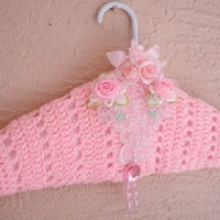 Dress hanger Crochet padded Clothes hanger satin Shabby lingerie dress hanger by Myeuropeantouch