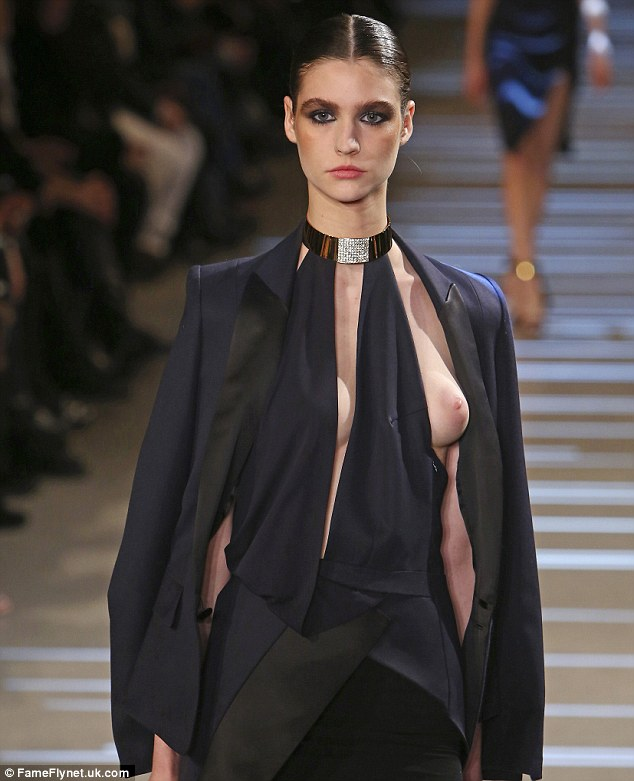 Alexandre Vauthier presents deliberate 'nip-slip' dress at Paris