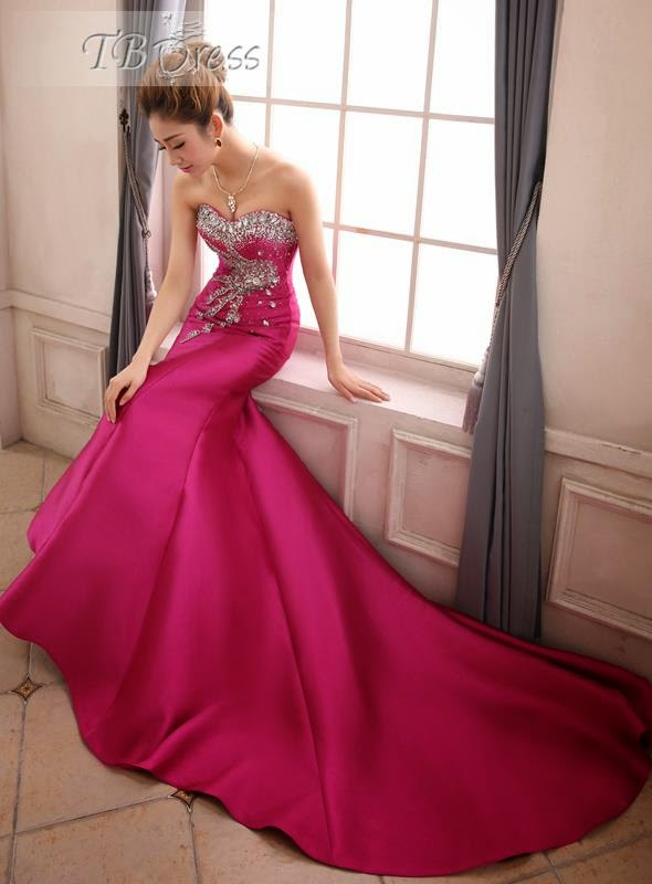 Chapel Train Lace-up Evening Dress and price