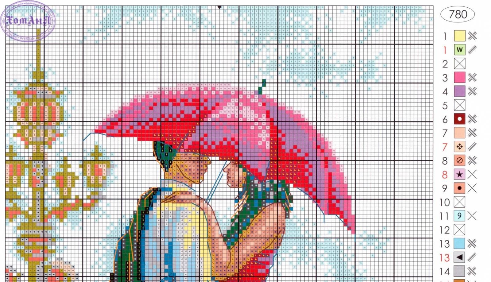 Вышивка крестом двое под зонтом схема 20