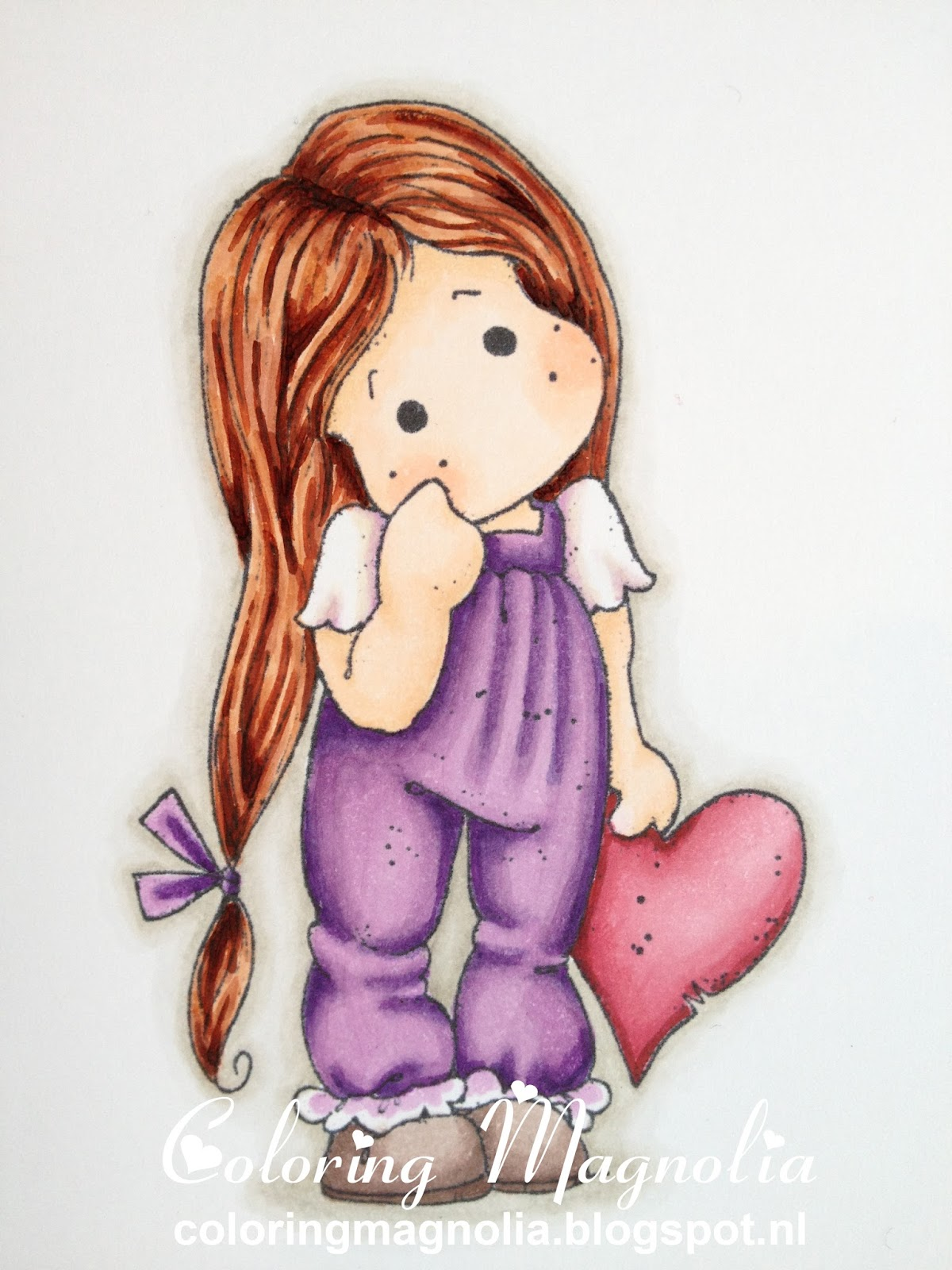 Coloring Magnolia Stamp 2013 With Love Collection - Lonely Tilda With Heart