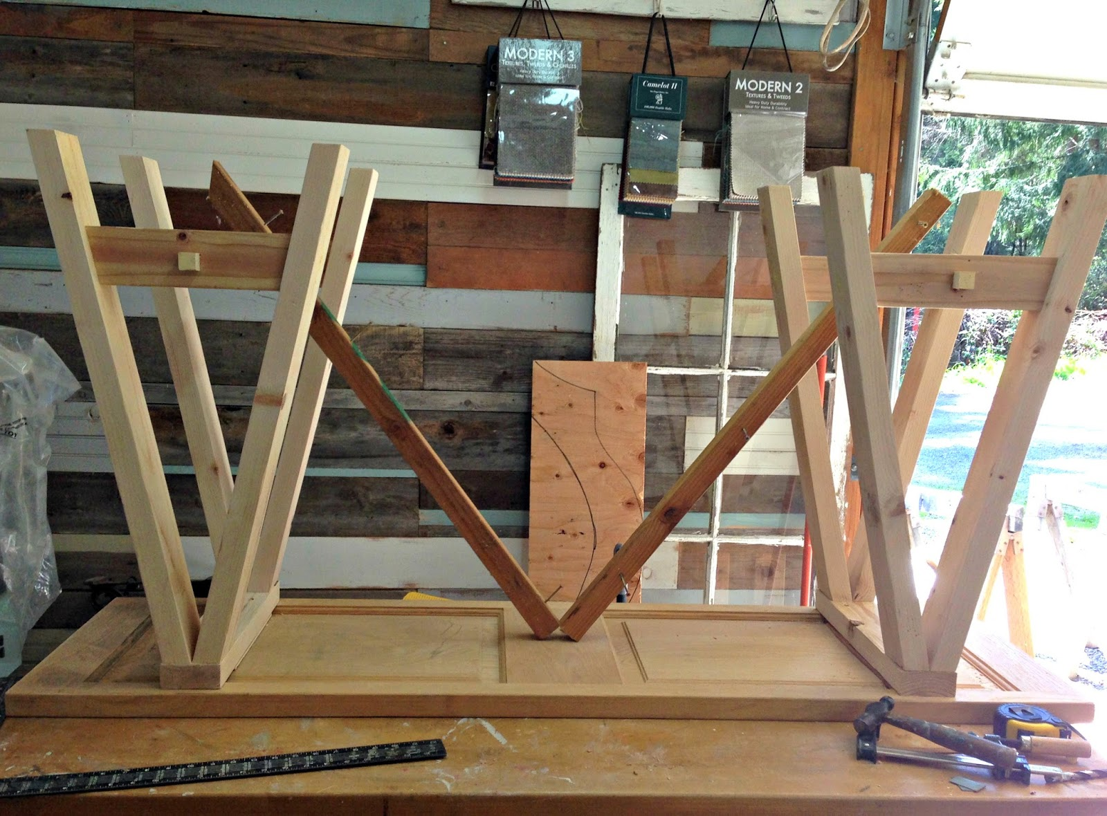 DIY Sawhorse Console Table