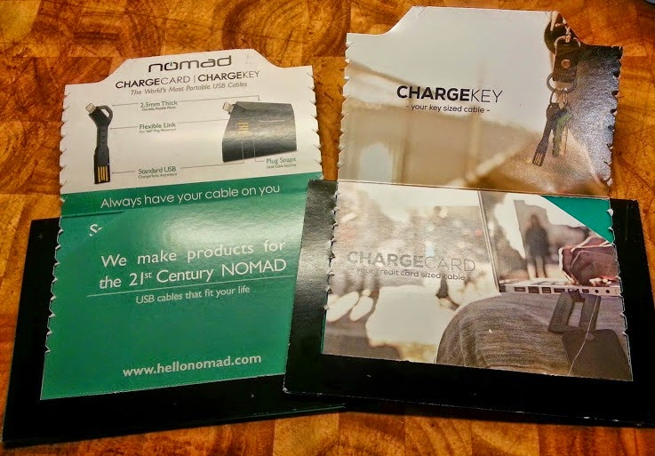 NOMAD Chargekey and ChargeCard packaging shows size