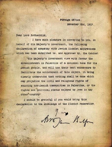 Declaração de Balfour, texto original em ingles