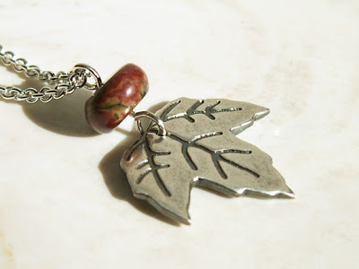 little maple leaf handmade recycled silver pendant with red creek jasper accent bead on Etsy by Jennifer Kistler