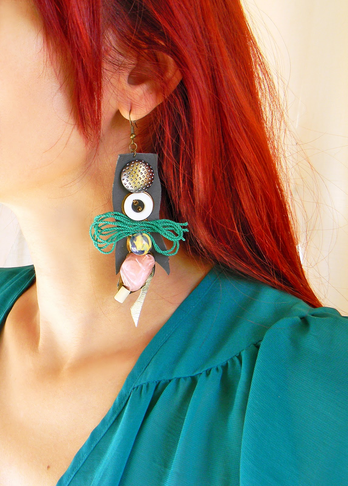 Statement Leather Earrings with Large Beads and Cotton Cords