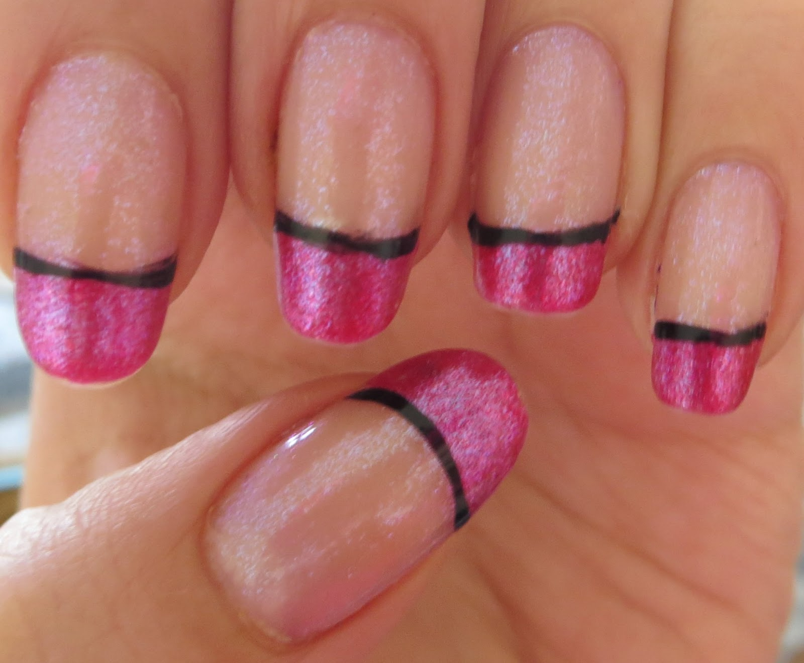 Oh what fun!: Hot Pink and Black French Tips