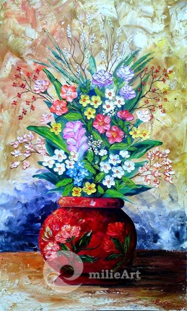 lukisan bunga vas