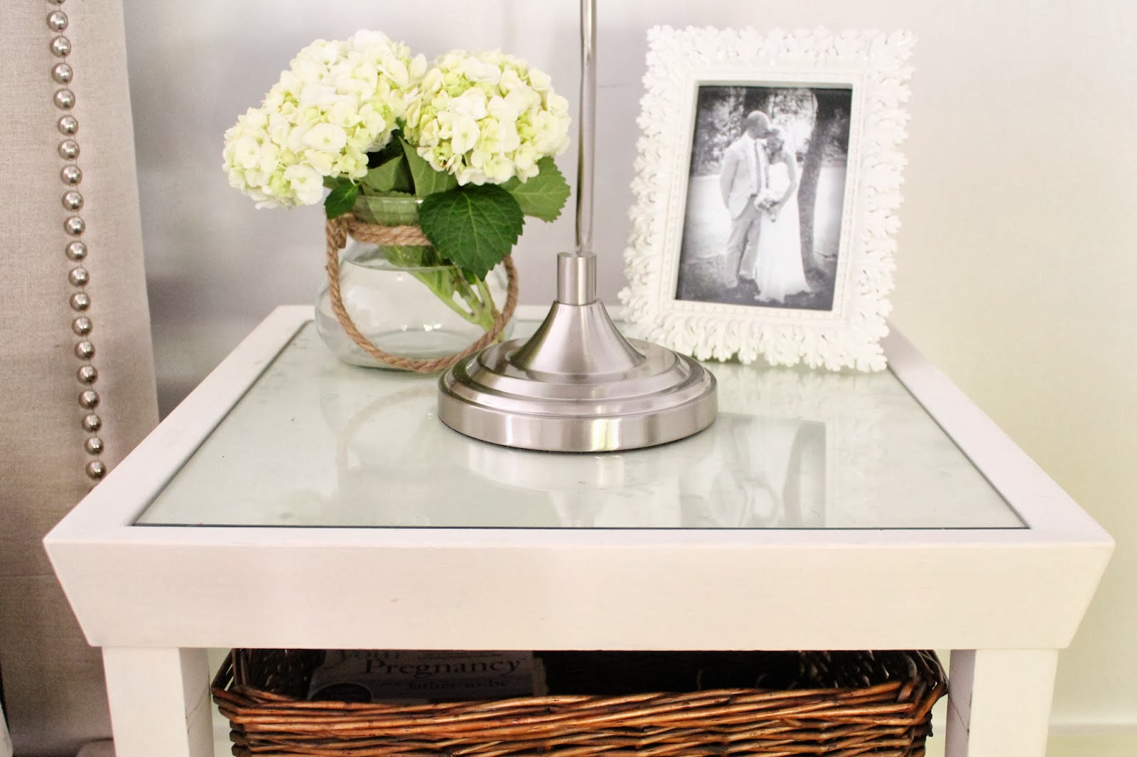 the picket fence projects like new nightstands - the glass top comes off so i plan on putting down fabric underneath it likethese choices