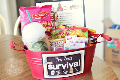 A Survival Kit loaded up with some of your teacher's favorites is always fun!