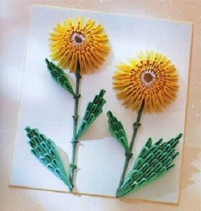 Here Is A Nice Way To Use Origami For Decoration Check Out The 3d Sunflower Portrait
