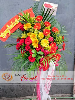 bunga standing flowers, bunga ucapan pernikahan, bunga ucapan selamat & sukses, congratulations flowers, toko bunga jakarta, rangkaian bunga mawar