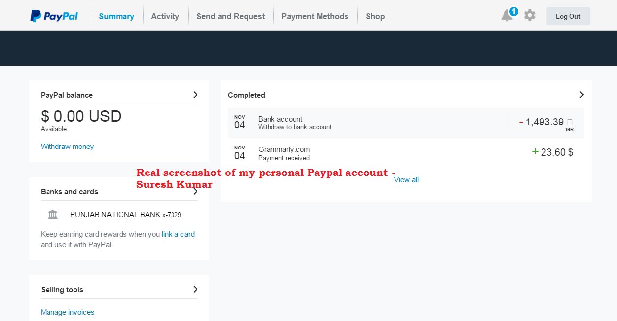 paypal account screenshot to guide how people do scam