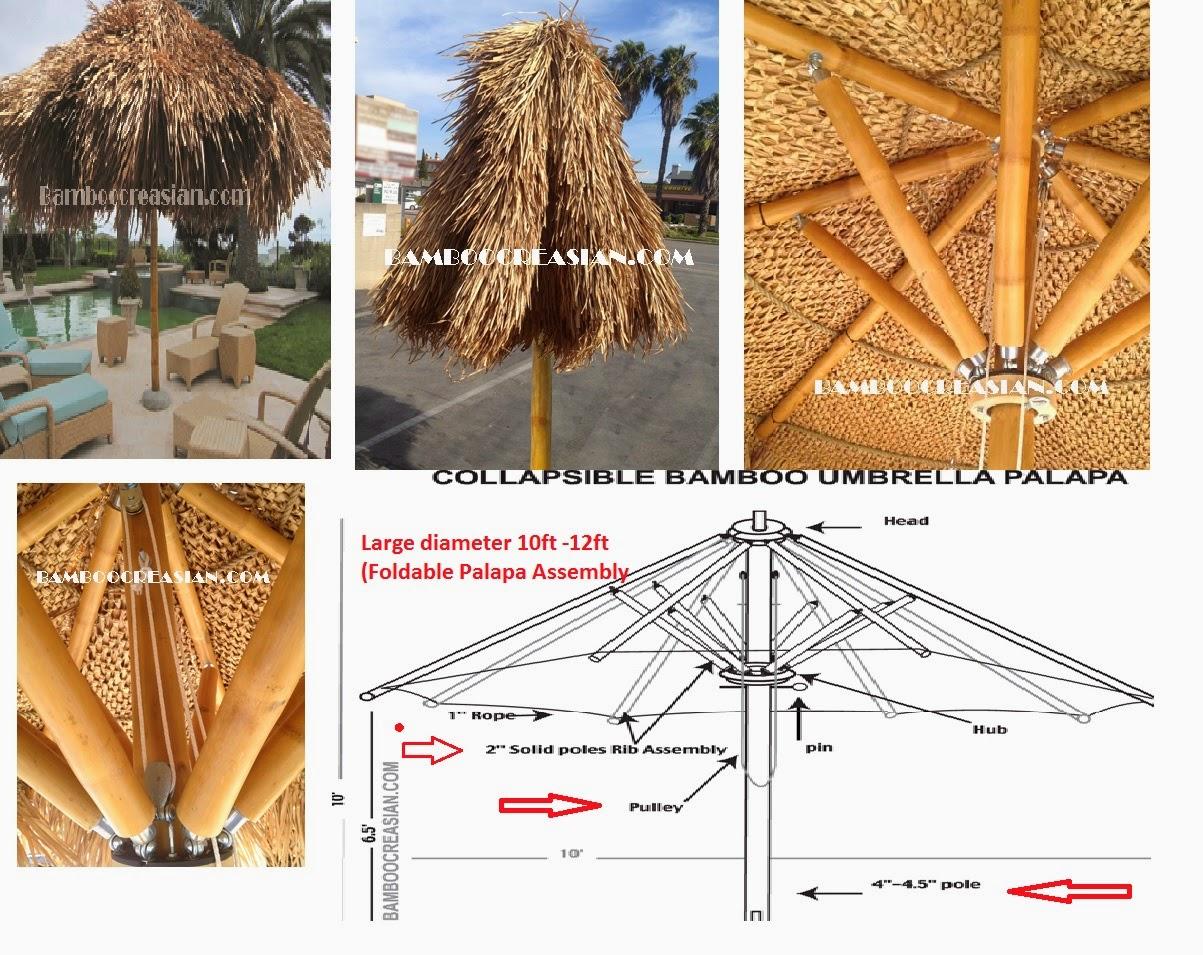 Bamboo Folding Palapas Portable Bamboo Palapa   Collapsible Bamboo Palapa  Umbrella Assembly