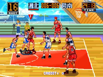 街機大型電玩:灌籃高手+作弊碼金手指(可修改回合時間),一起進軍全國大賽吧!