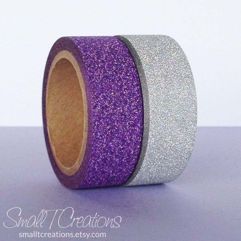 Purple & Silver Glitter Tape Washi Set by Small T Creations on Etsy https://www.etsy.com/listing/207534186/purple-silver-glitter-tape-set-halloween?ref=shop_home_active_2