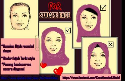 model jilbab untuk wajah persegi