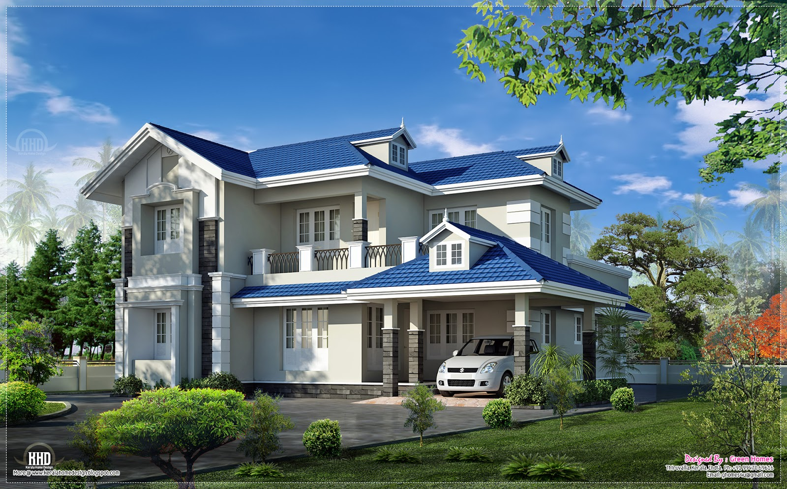 Beautiful 4 bedroom villa exterior kerala home design for Palatial home designs