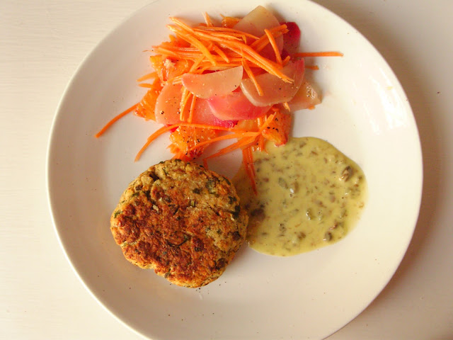 Mackerel, smoked paprika, caper, cornichon and mashed potato fish cakes with beetroot and carrot salad