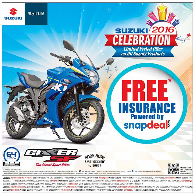Suzuki 2016 celebration | Limited period Offer on All Suzuki Products.
