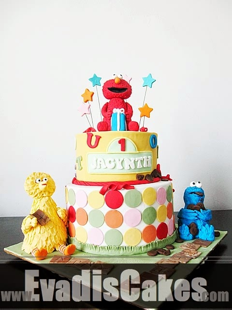 Side view picture of Sesame Street Elmo Theme cake